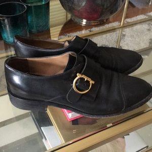 Salvatore Ferragamo Black Leather Loafers Sz 37